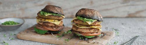 Mushroom And Chicken-Style Burger